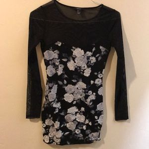Floral Bodycon Dress with sheer sleeves!